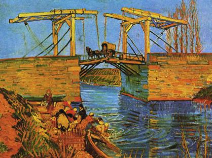 The Langlois Bridge at Arles with Women Washing - Vincent van Gogh Image
